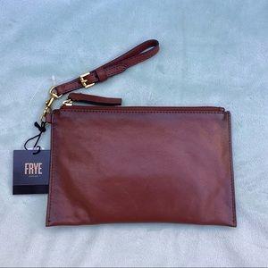NWT FRYE Leather Wristlet - Brown Cognac